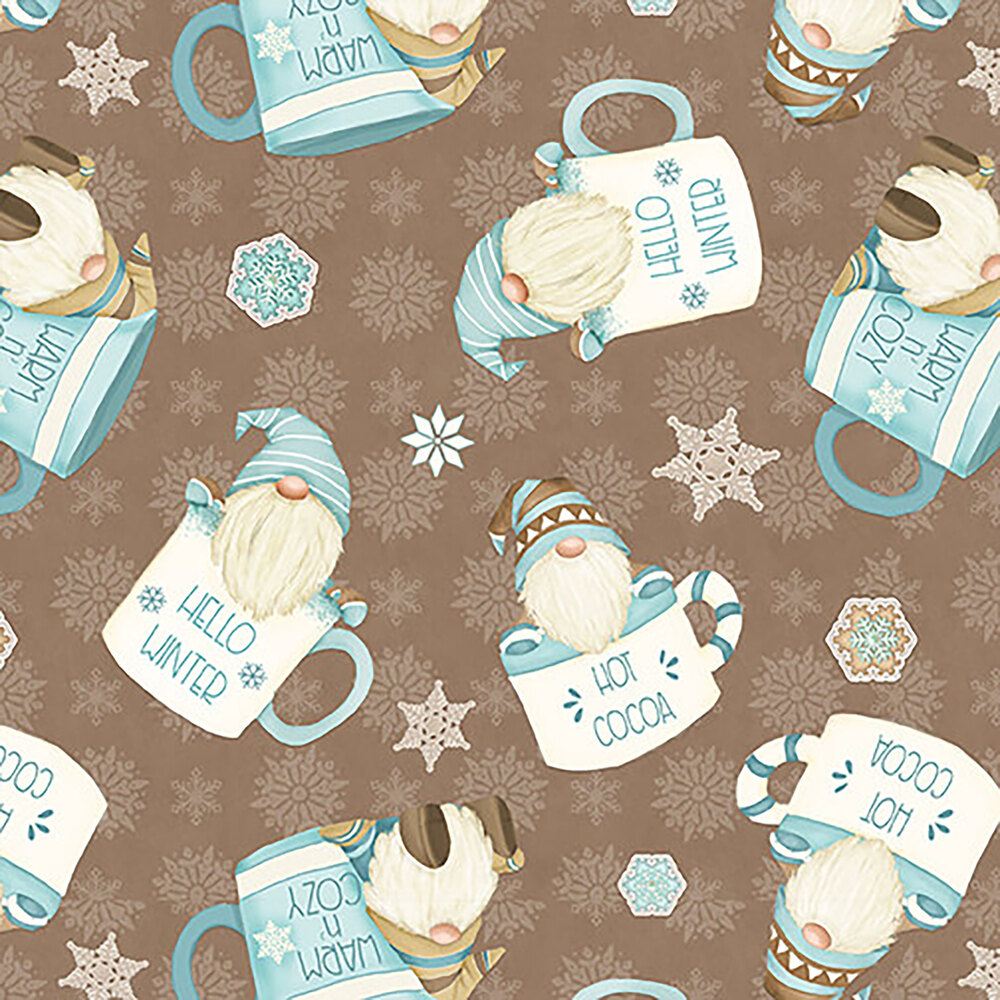 Tossed gnomes in cocoa cups on a brown background with small white snowflakes
