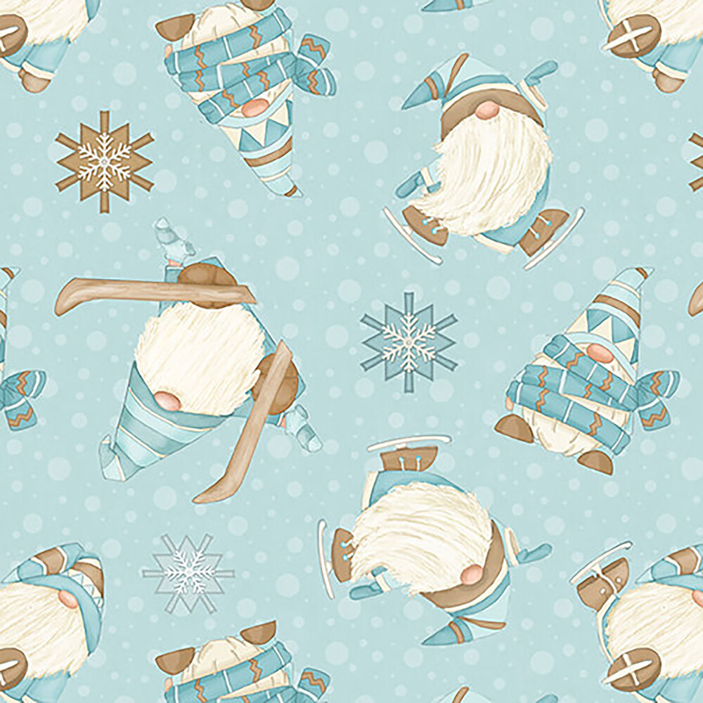 Tossed skiing gnomies on an aqua background with white snowflakes
