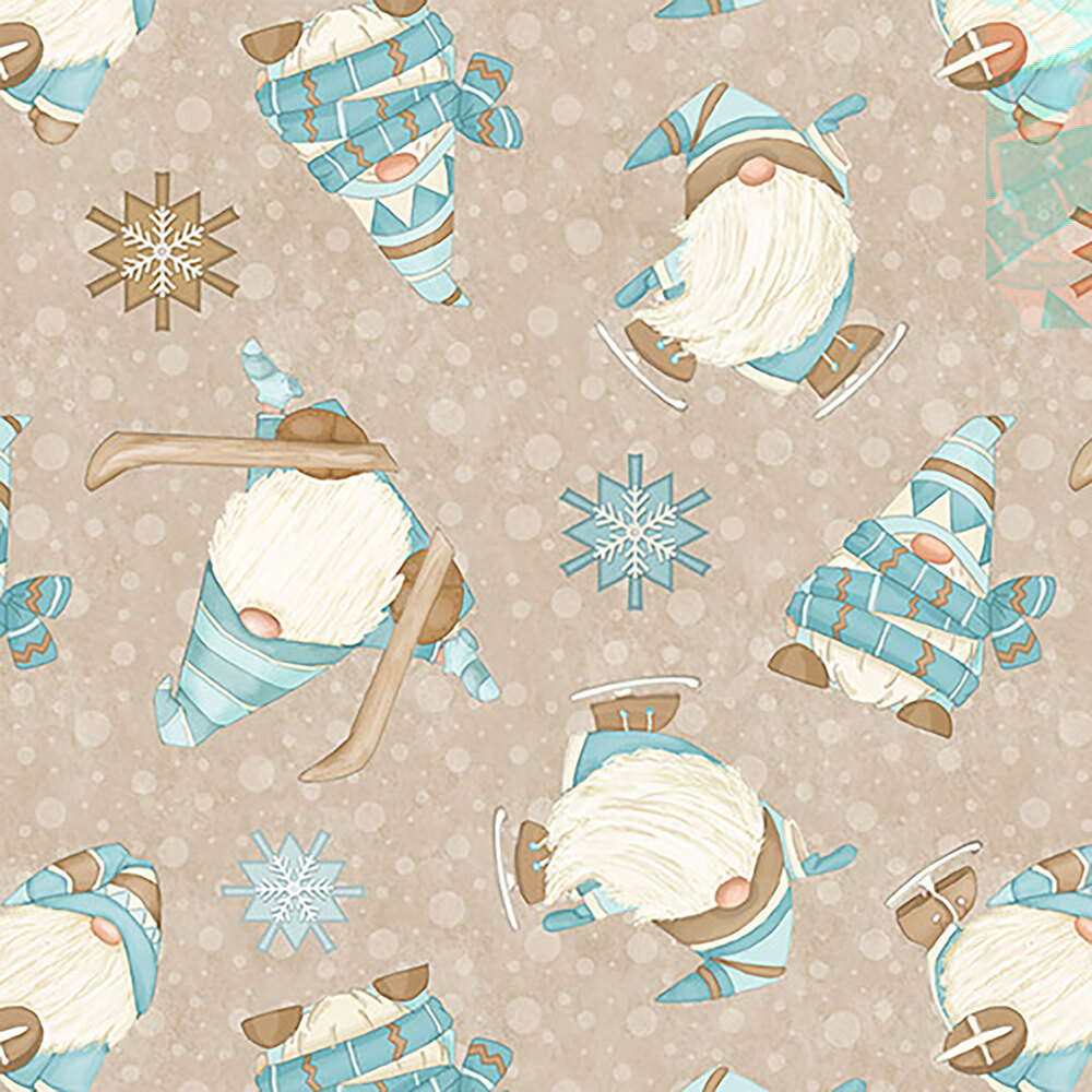 Tossed skiing gnomies on an beige background with light brown snowflakes
