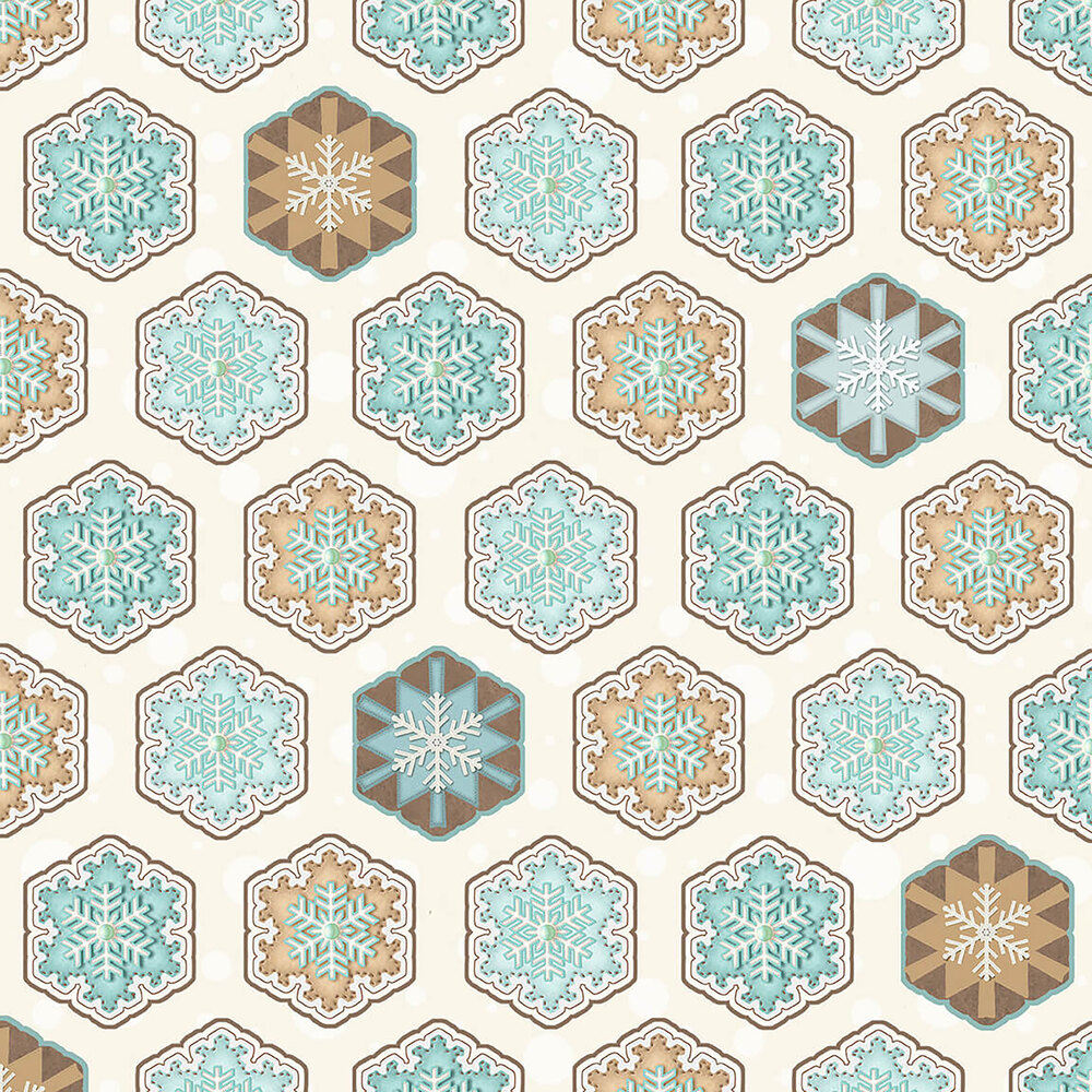 Hexi snowflakes all over a cream background