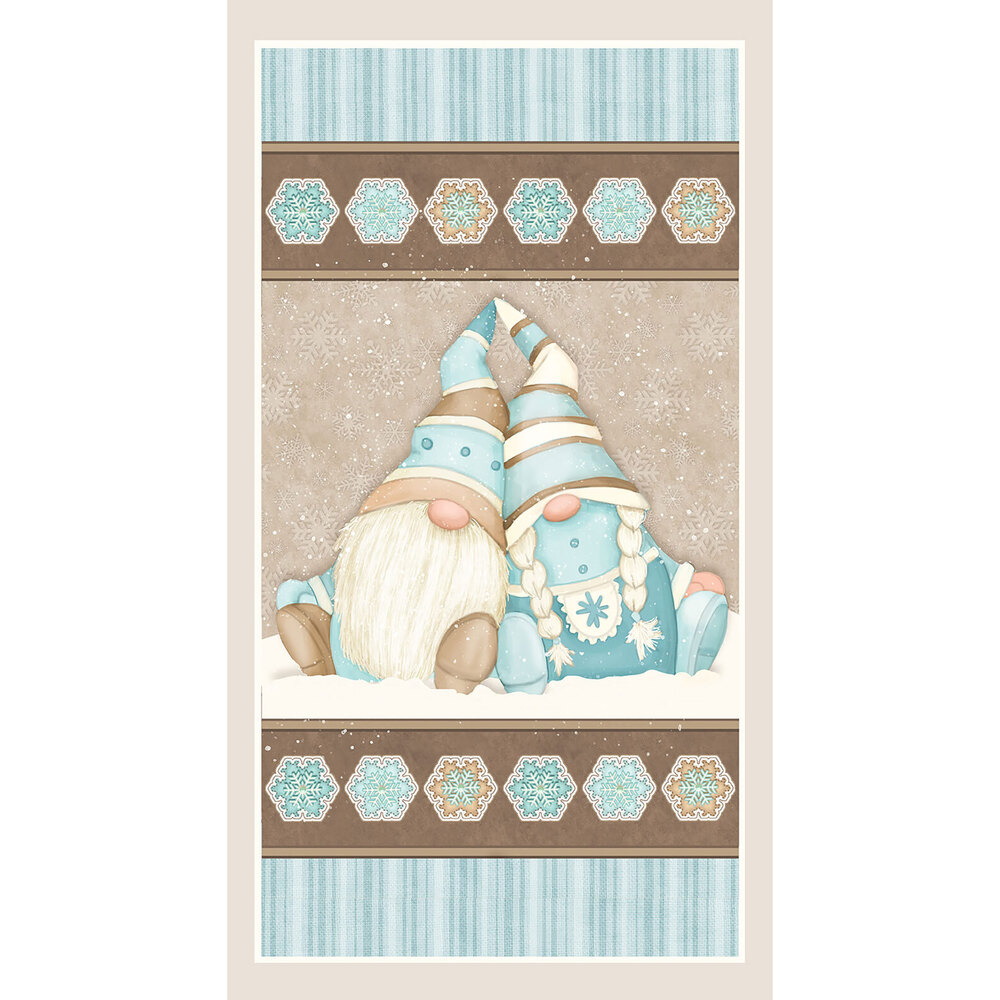 Adorable flannel panel with two friendly snow gnomes