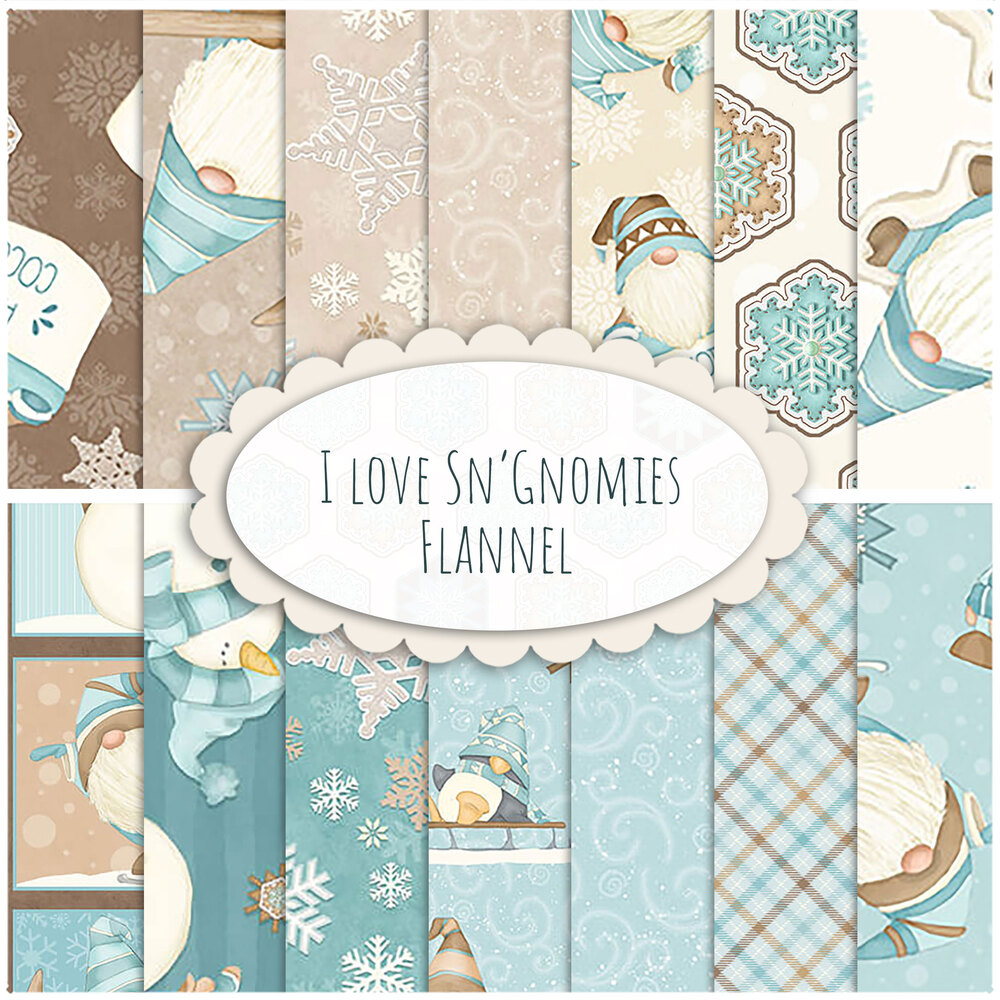 I Love Sn'Gnomies Flannel  Yardage by Shelly Comiskey for Henry Glass Fabrics