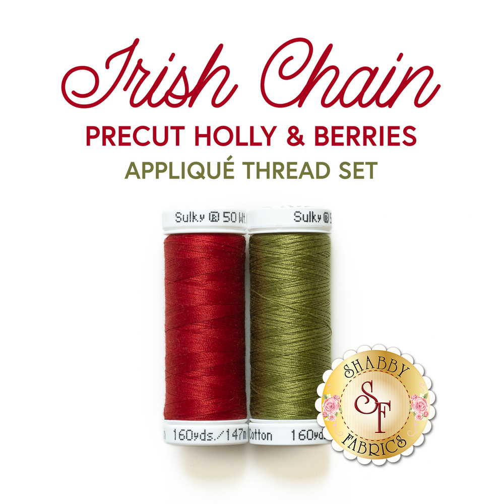 The set of two threads (1039, 1156) included in the Poinsettia & Pine Precut Thread Set