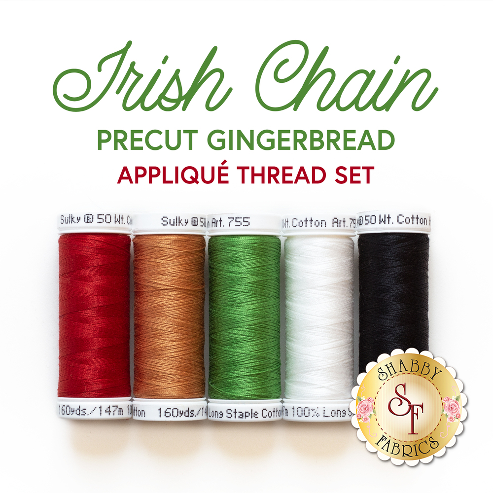 A red, orange, green, white, and black thread set for the Irish Chain We Whisk You A Merry Christmas