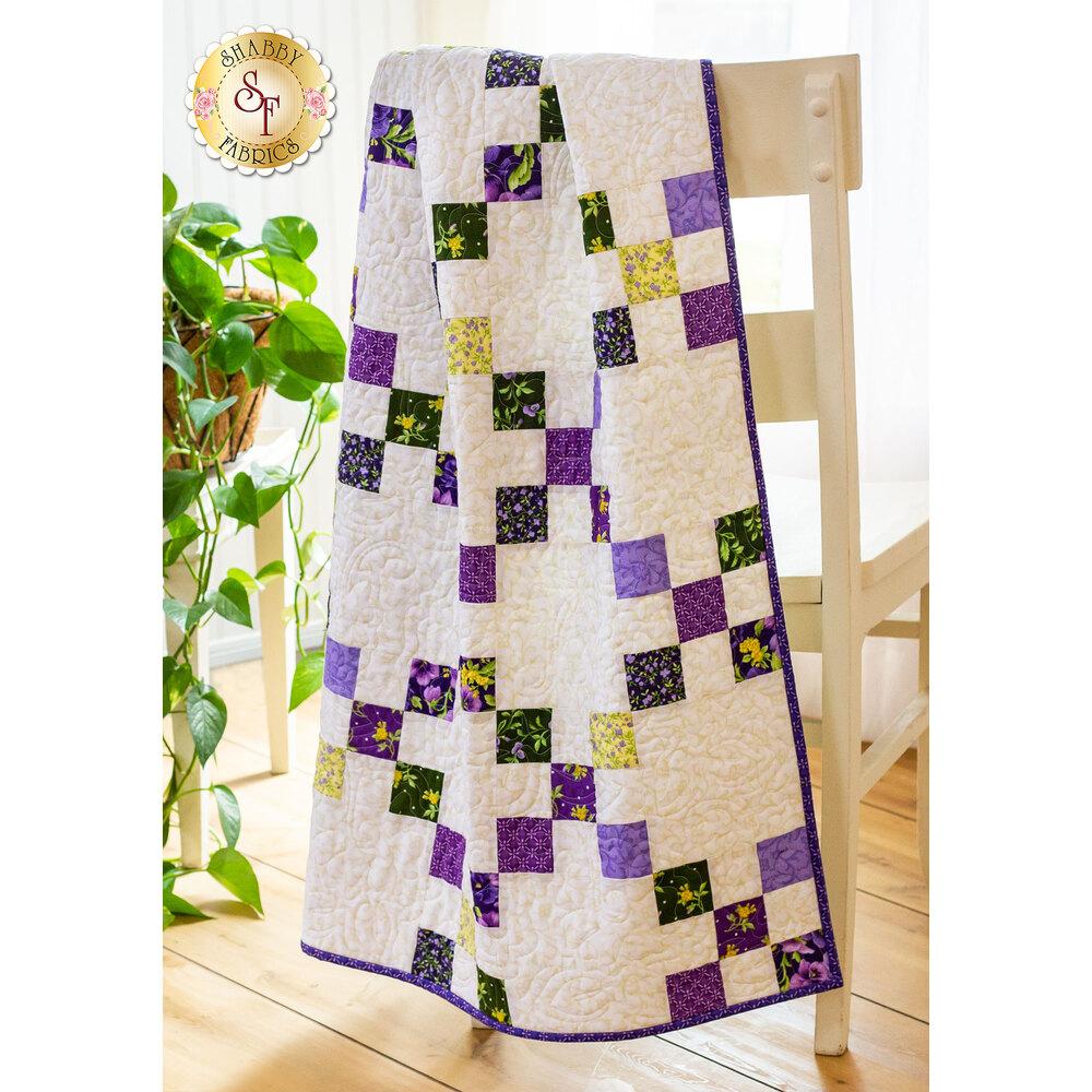 Emma's Garden Irish Chain Quilt displayed | Shabby Fabrics