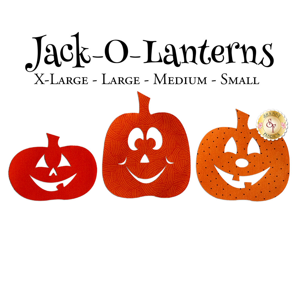 3 smiling jack-o-lantern applique shapes: one short, one tall, one medium height.