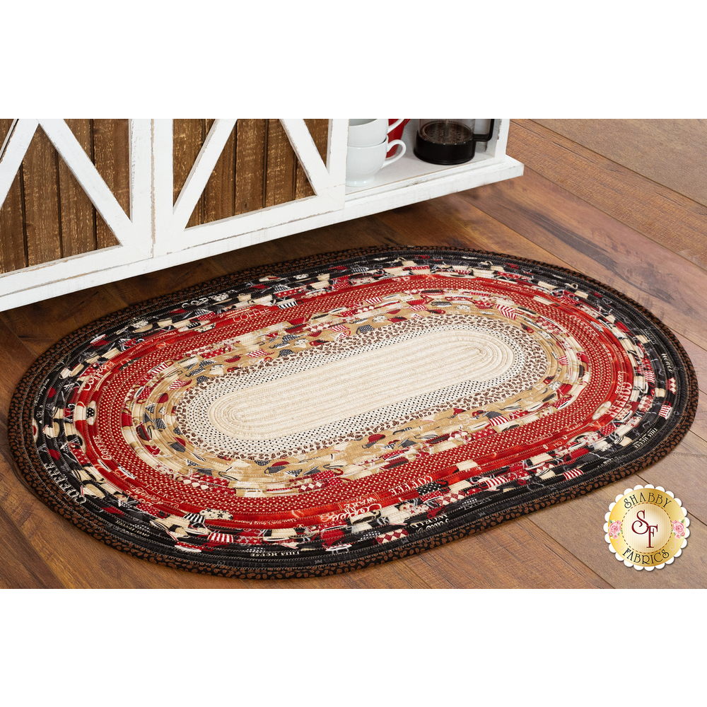 The beautiful Jelly Roll Rug made with the Coffee Time fabric collection | Shabby Fabrics