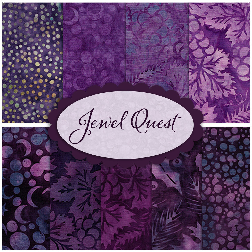A collage of fabrics included in the Jewel Quest batik collection