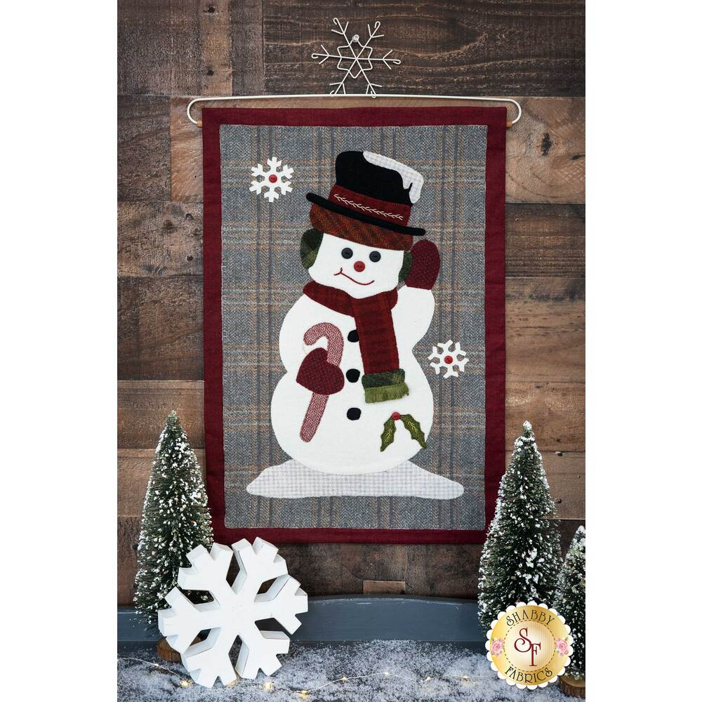 The completed Jolly Snowman Wall Hanging displayed | Shabby Fabrics