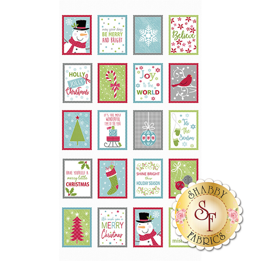 Christmas panel featuring blocks showing different Christmas scenes | Shabby Fabrics