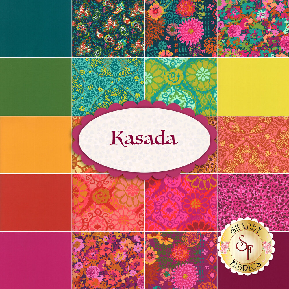 Collage of fabrics included in the Kasada collection | Shabby Fabrics