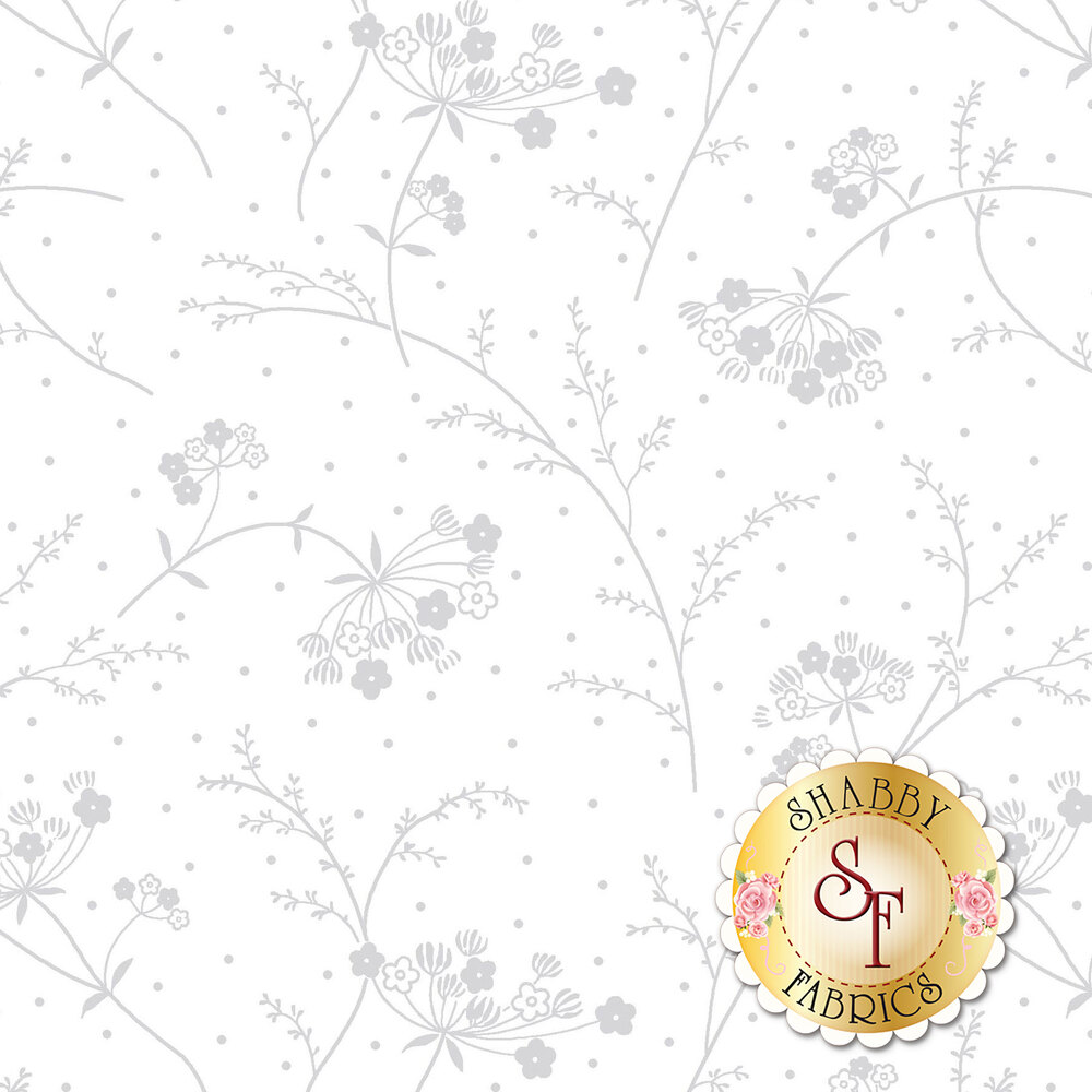 Gray flowers, ferns, and dots on white representing white on white design | Shabby Fabrics