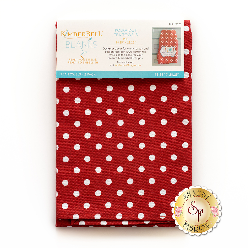 A pack of two white and red polka dot tea towels in a Kimberbell wrapping