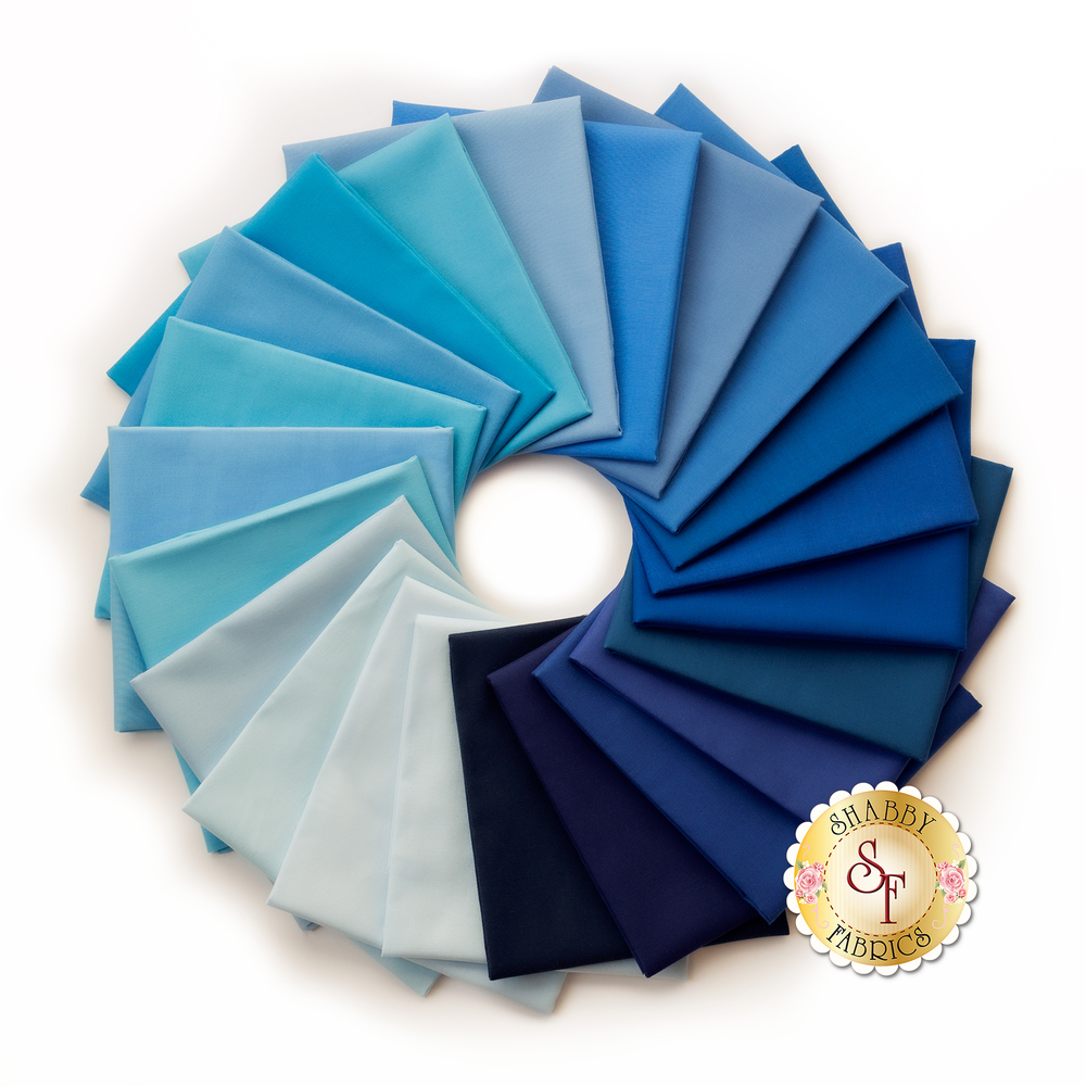 Kona Cotton Solids  22 FQ Set - Blue by Robert Kaufman Fabrics