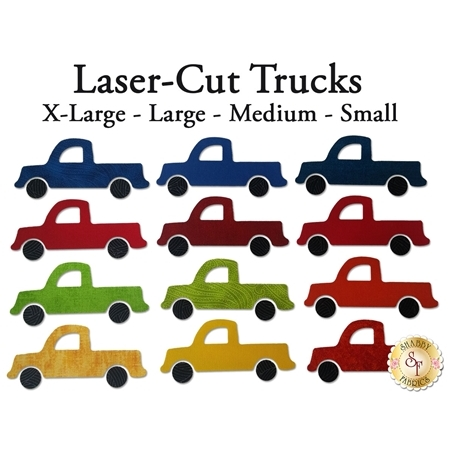 12 truck applique shapes in blue, red, green, and yellow.