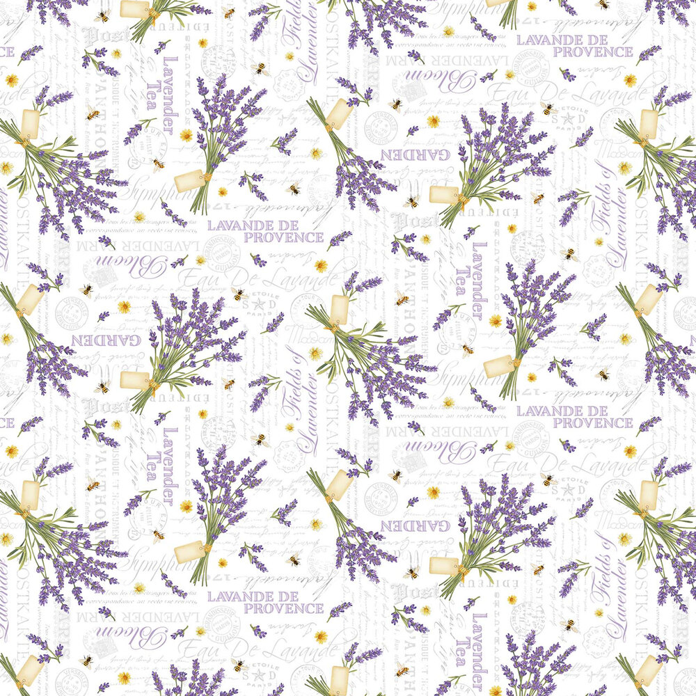 Lavender bouquets and words on a white background