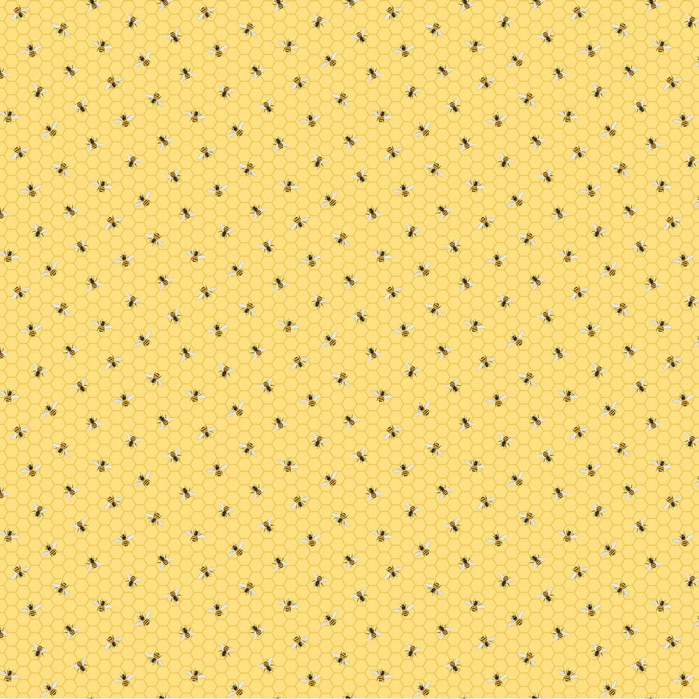 Bees on a yellow honeycomb background