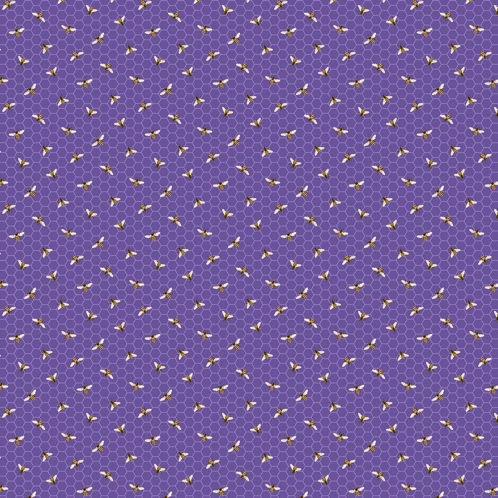 Bees on a purple honeycomb background