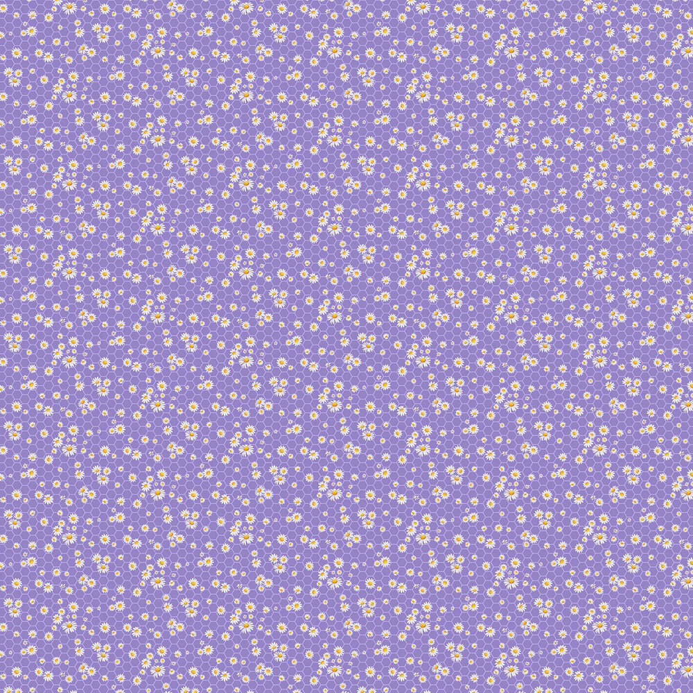 Daisies on a purple honeycomb background