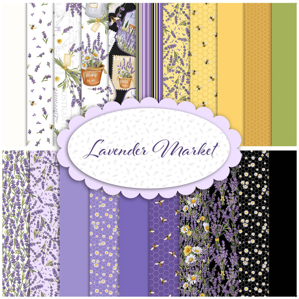 A collage of fabric from the Lavender Market collection