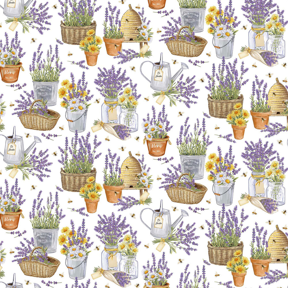 Flowers, watering cans, and bees on a white background
