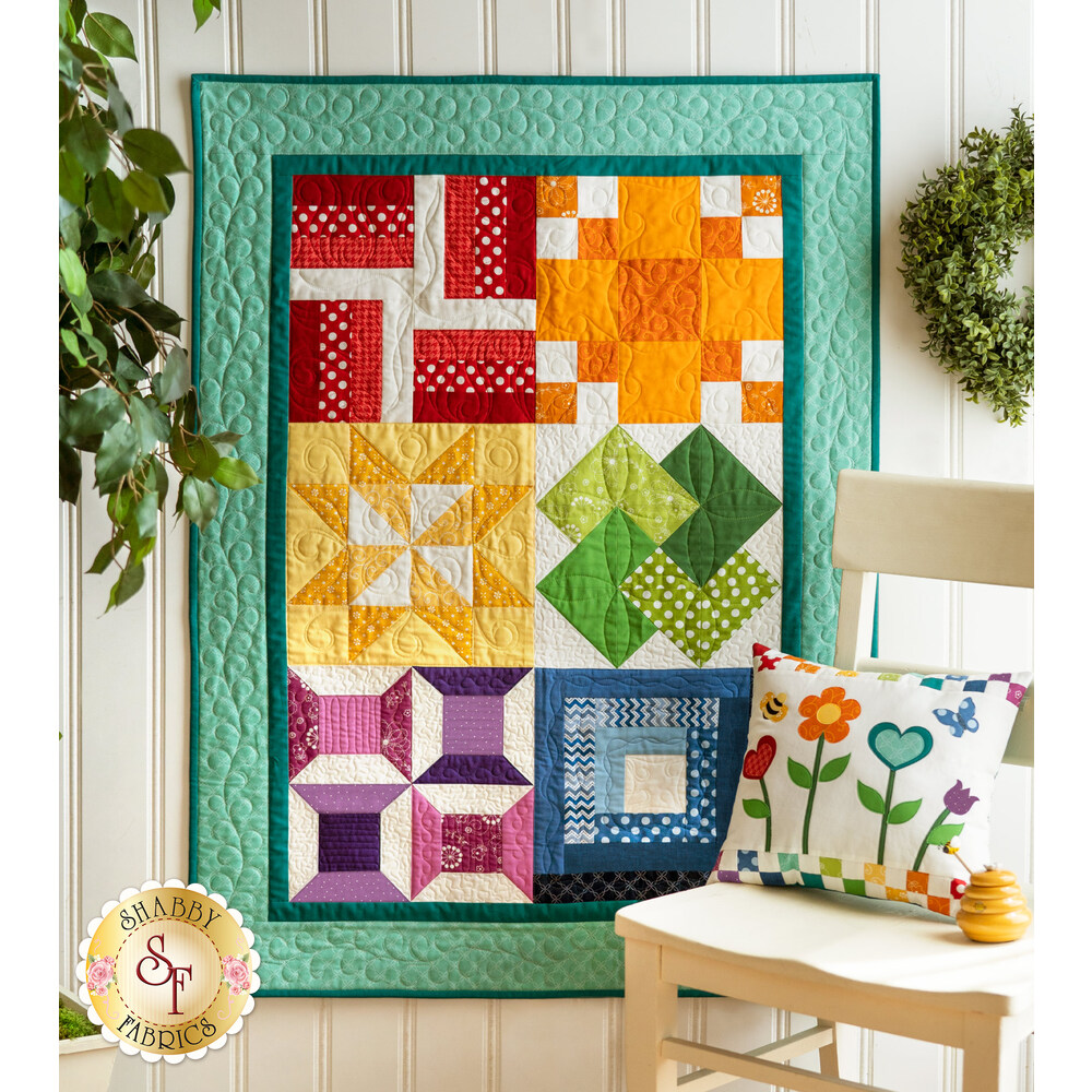 Beautiful 6 block quilt featuring lovely color and simple designs