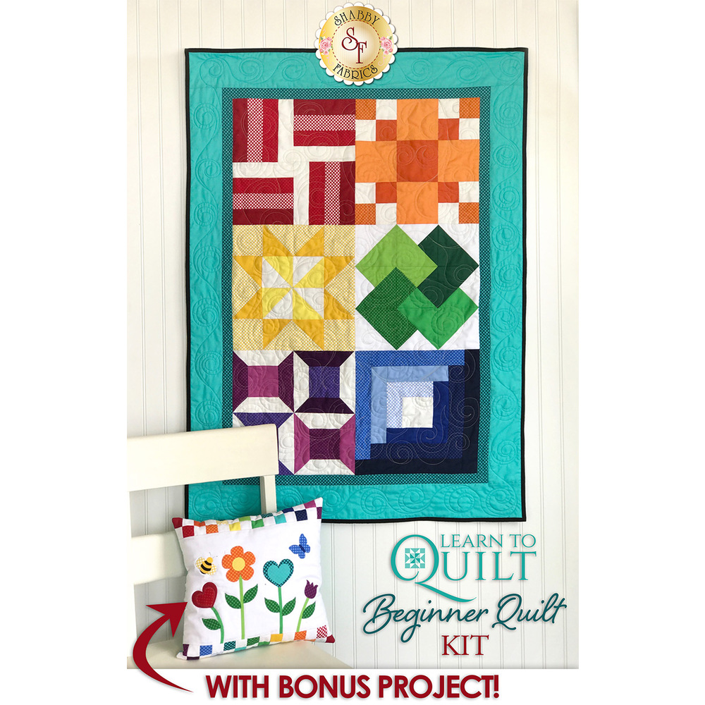 A beginner quilt featuring 6 simple quilt blocks in bright colors.
