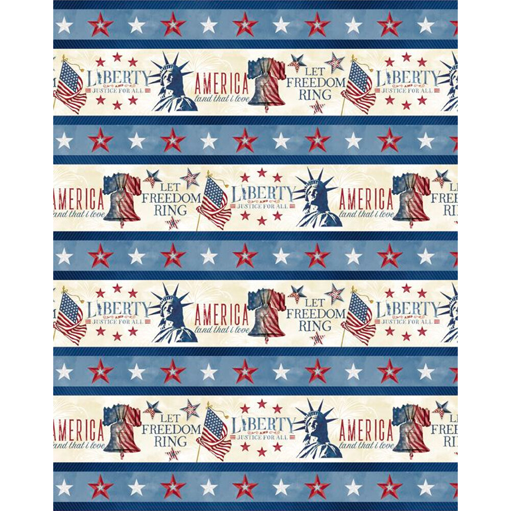 Patriotic border stripe with the statue of liberty and American flag