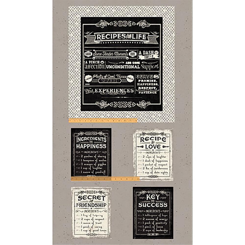 Life's Recipes 52436P-1 Panel Grey by Pela Studios for Windham Fabrics
