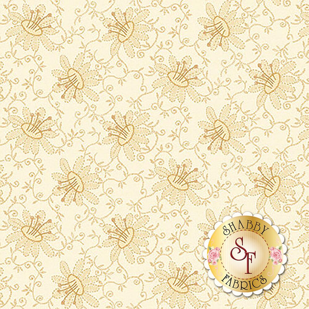 Cream tonal floral print | Shabby Fabrics