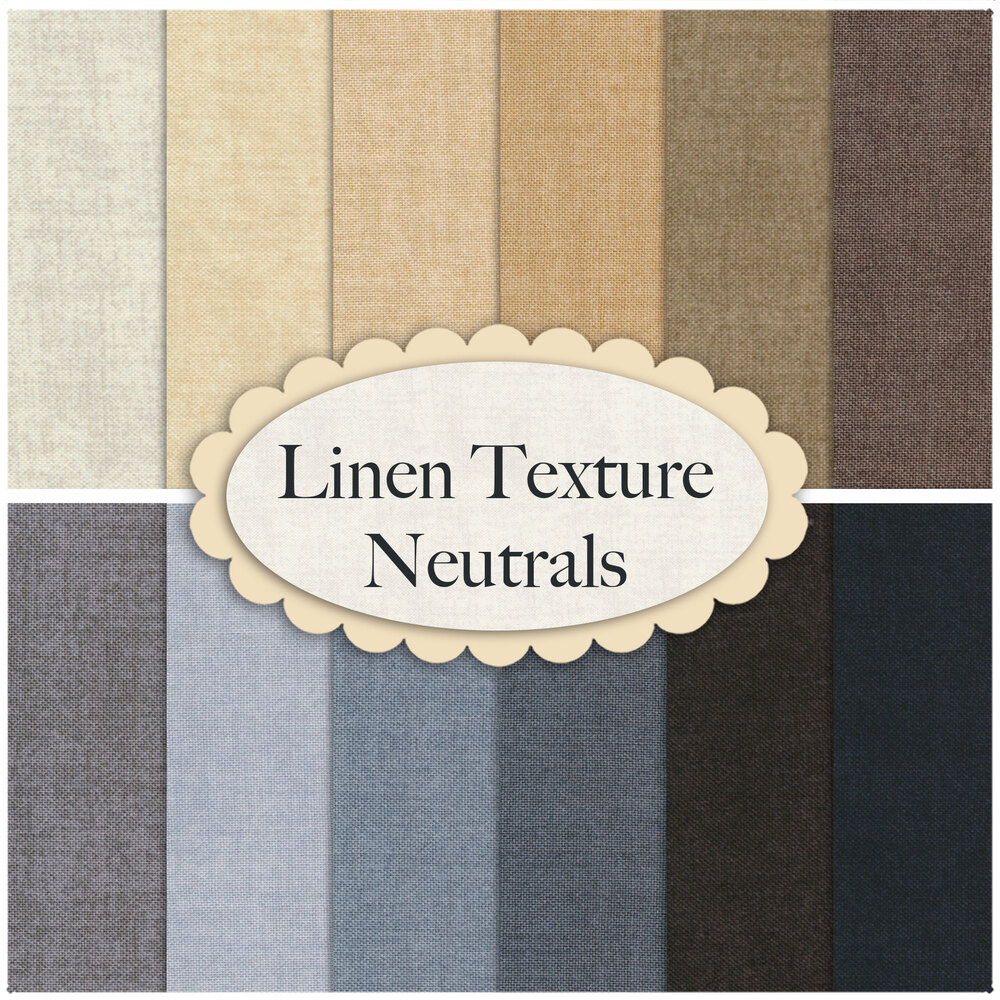 A collage of fabrics from the Linen Texture 12 FQ Set Neutrals