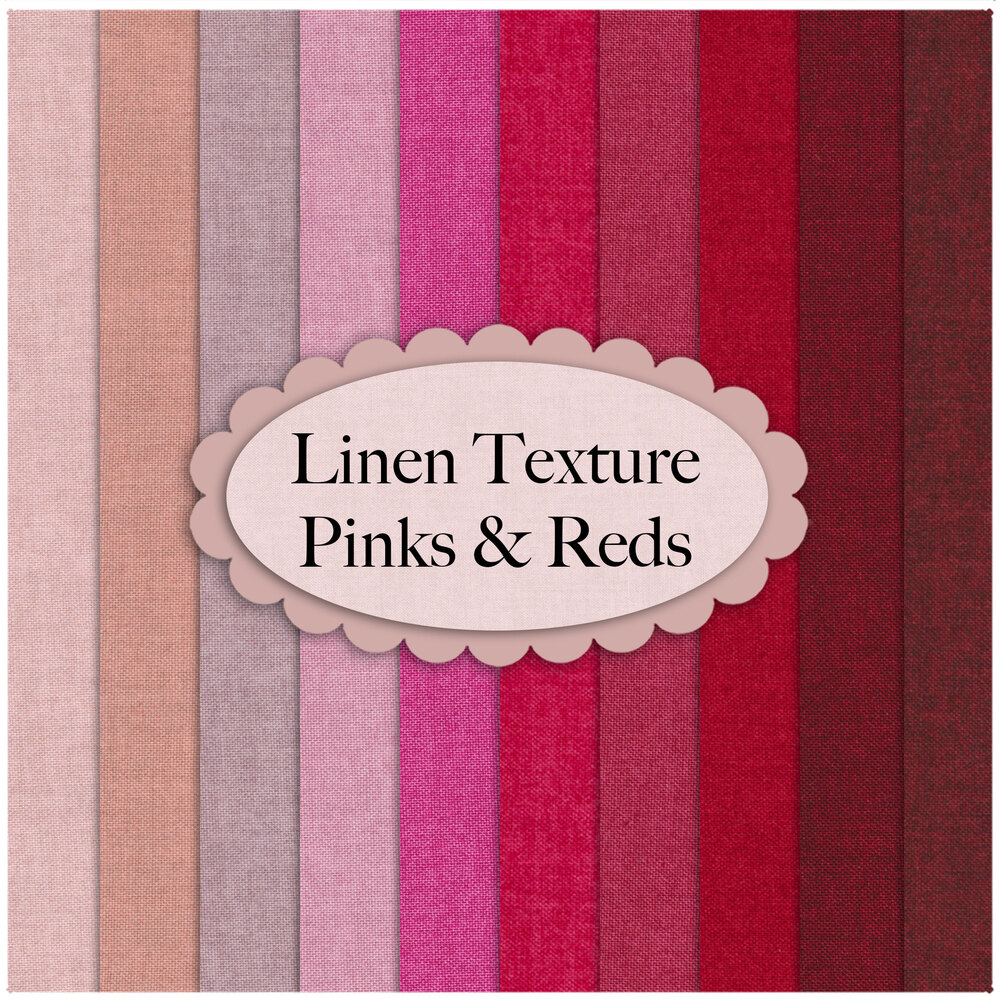 A collage of fabrics from the Linen Texture 10 FQ Set Pinks & Reds