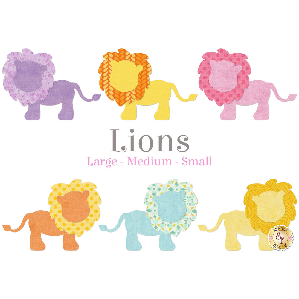 6 lion applique shapes in yellow, pink, purple, and blue.