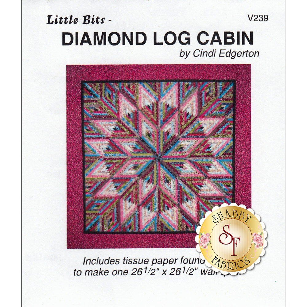 The front of Little Bits - Diamond Log Cabin Pattern showing the finished quilt