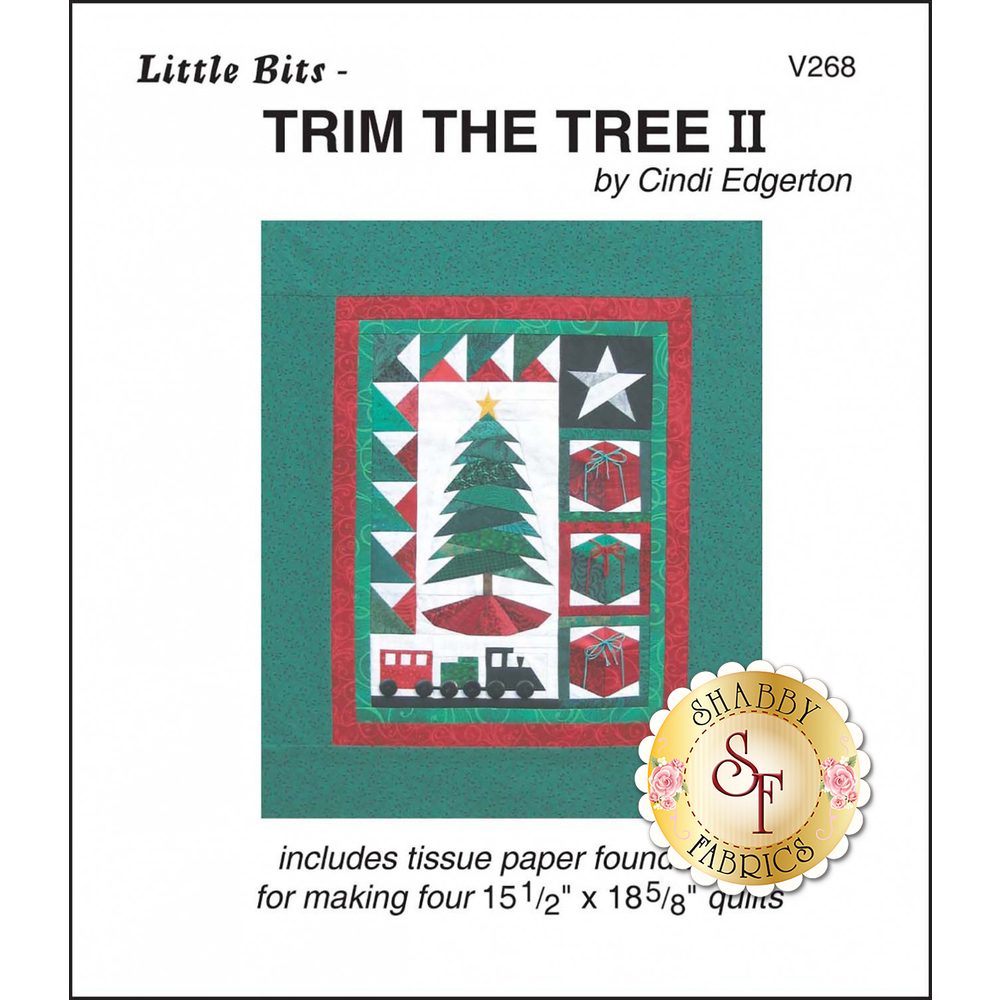 The front of Little Bits - Trim The Tree II Pattern showing the finished quilt