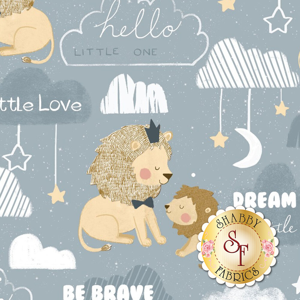 Lions on gray with words and clouds | Shabby Fabrics