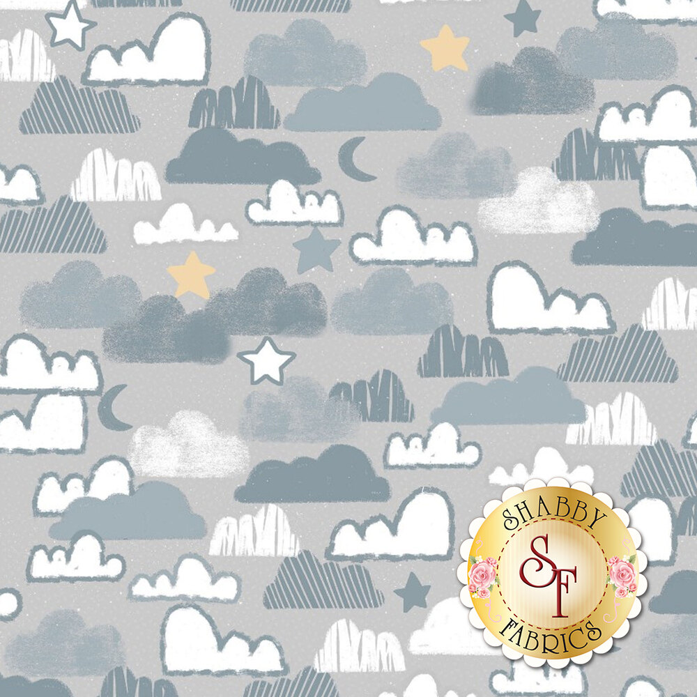 Gray and white clouds with stars and moons all over gray | Shabby Fabrics