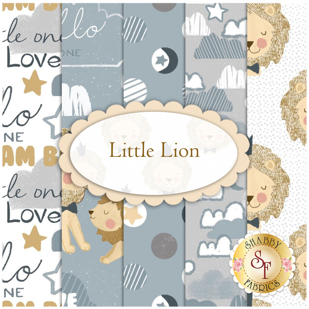 Collage of fabrics included in Little Lion FQ Set | Shabby Fabrics