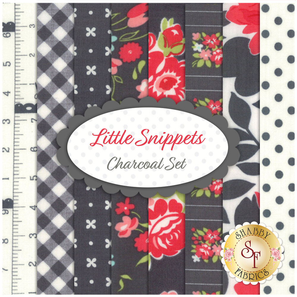 Little Snippets  8 FQ Set - Charcoal Set by Bonnie & Camille for Moda Fabrics