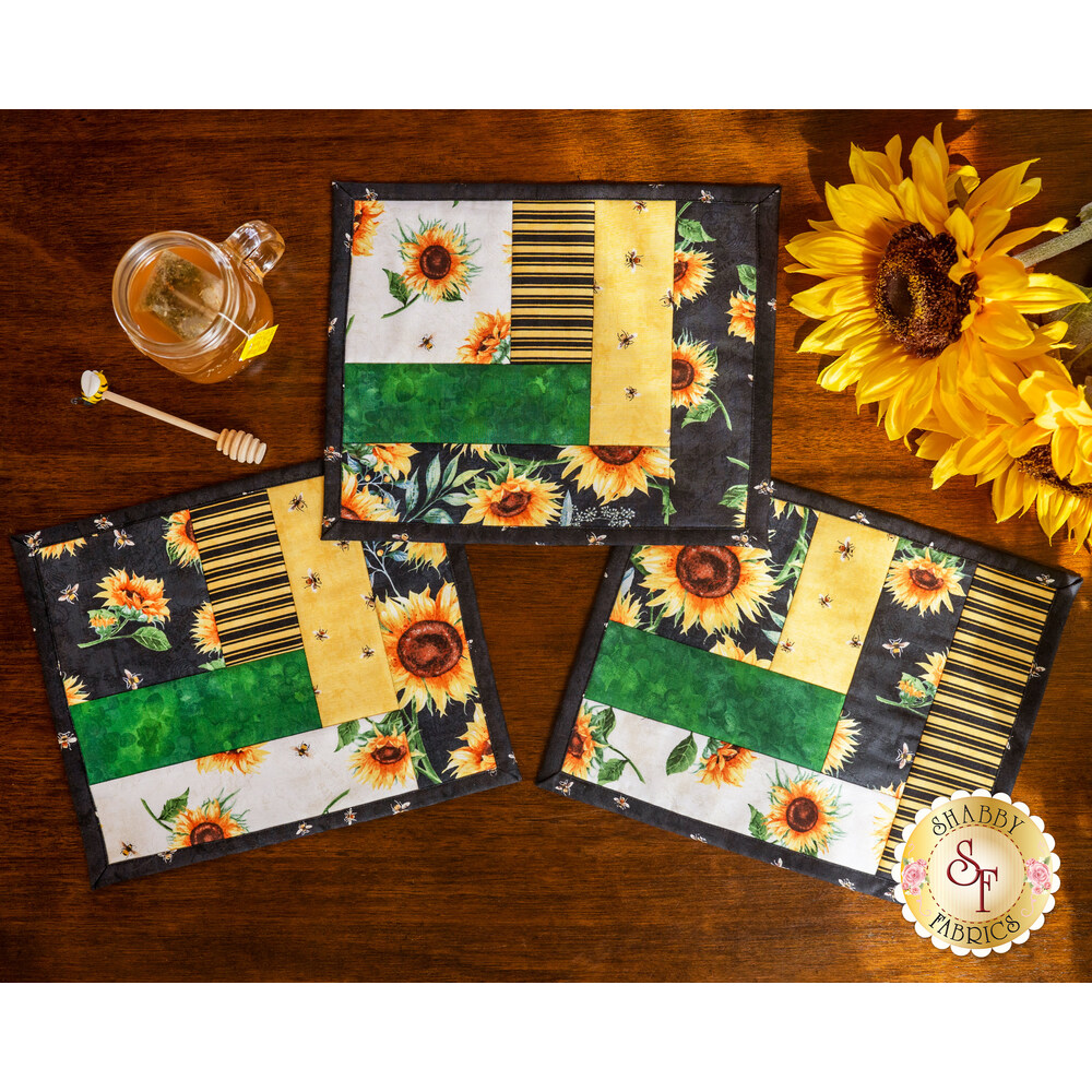 Quilt As You Go Log Cabin Mug Mats Kit - Sundance Meadow
