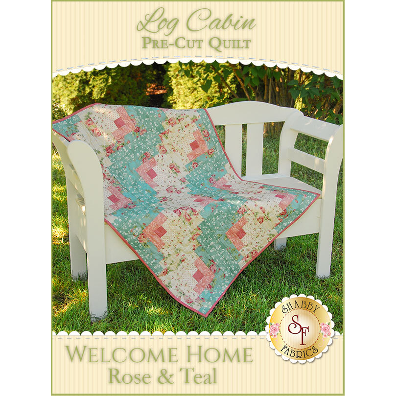 Log Cabin Pre-Cut Kit - Welcome Home Rose & Teal