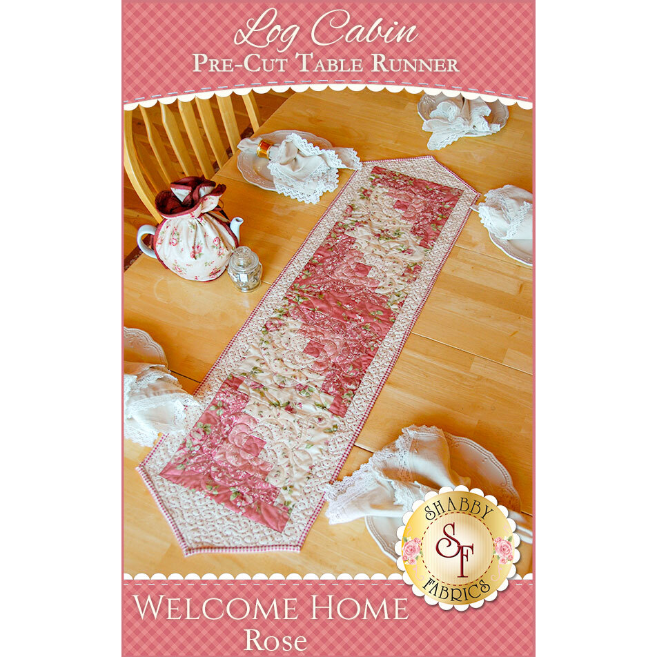 Log Cabin Table Runner Pre-Cut Kit - Welcome Home Rose