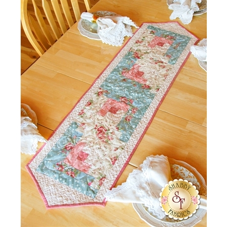 Log Cabin Table Runner Pre-Cut Kit - Welcome Home Rose & Teal