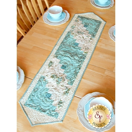 Log Cabin Table Runner Pre-Cut Kit - Welcome Home Teal - Shabby Fabrics
