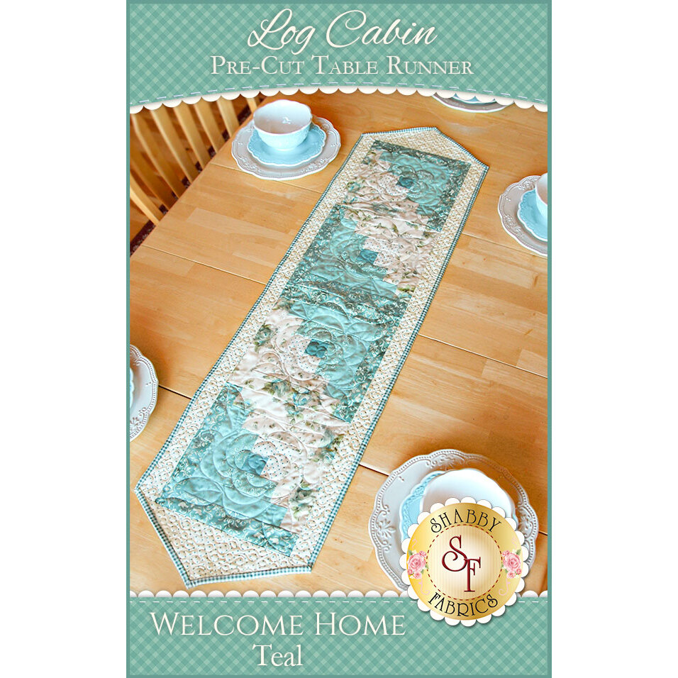 Log Cabin Table Runner Pre-Cut Kit - Welcome Home Teal