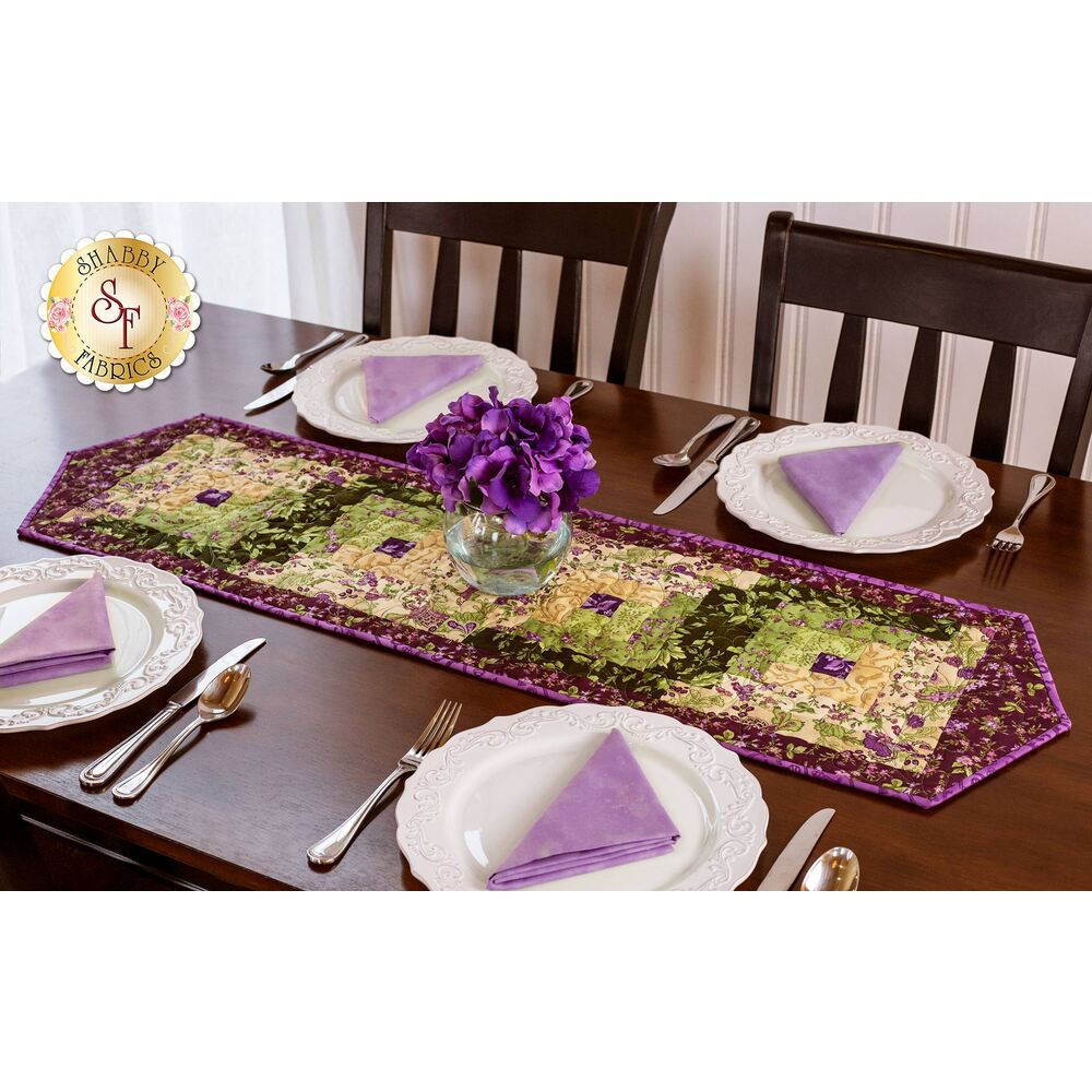 Log Cabin Table Runner Pre-Cut Kit - Aubergine available at Shabby Fabrics
