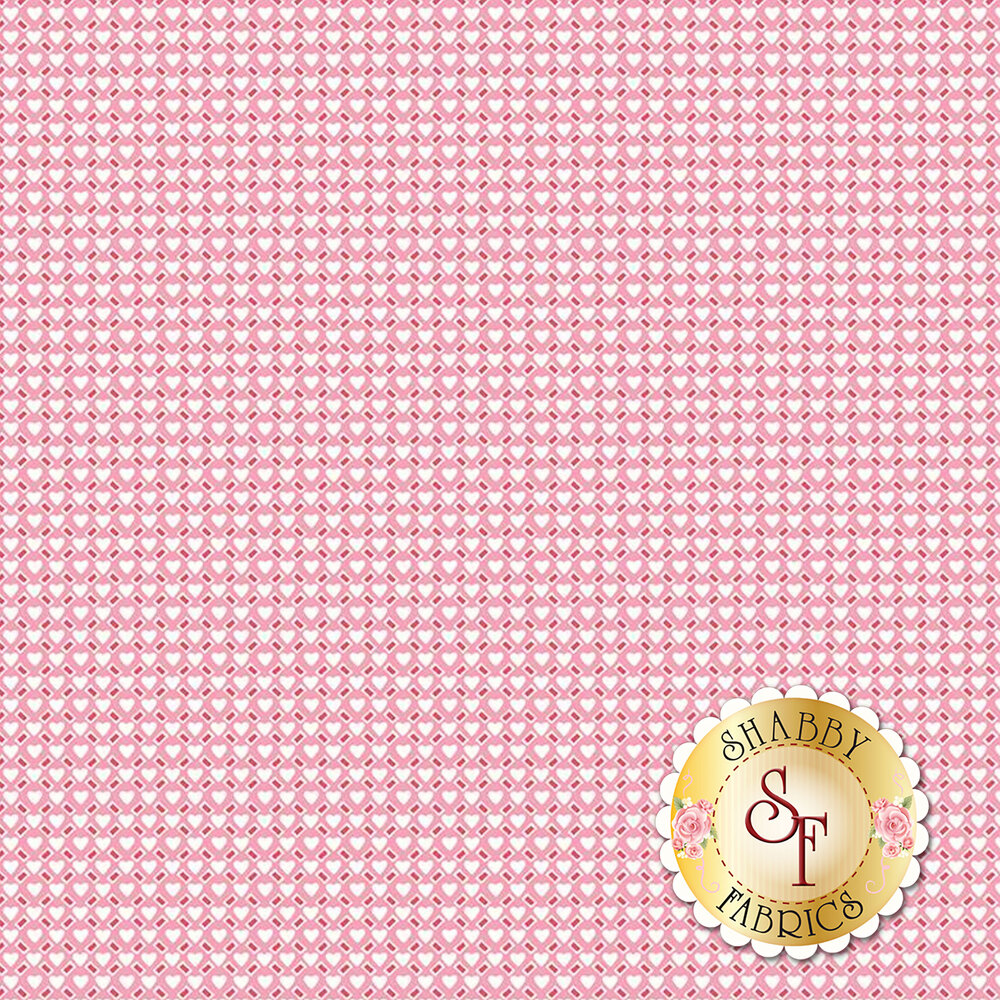 White hearts and red rectangles all over pink - Shabby Fabrics