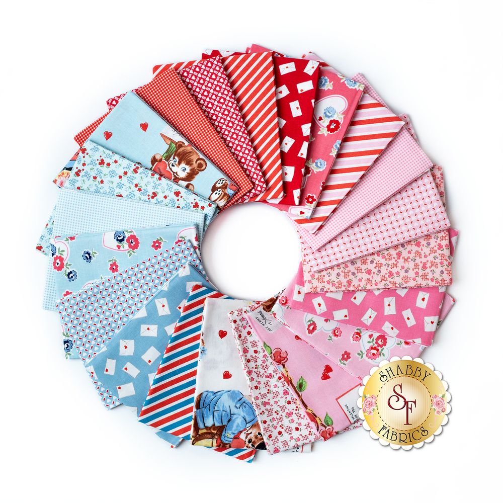 Collage of fabrics included in Love Letters fat quarter set | Shabby Fabrics