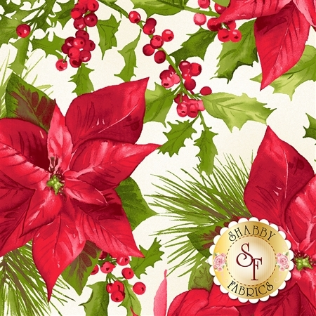 Poinsettia & Pine 9120-E by Maywood Studio Fabrics