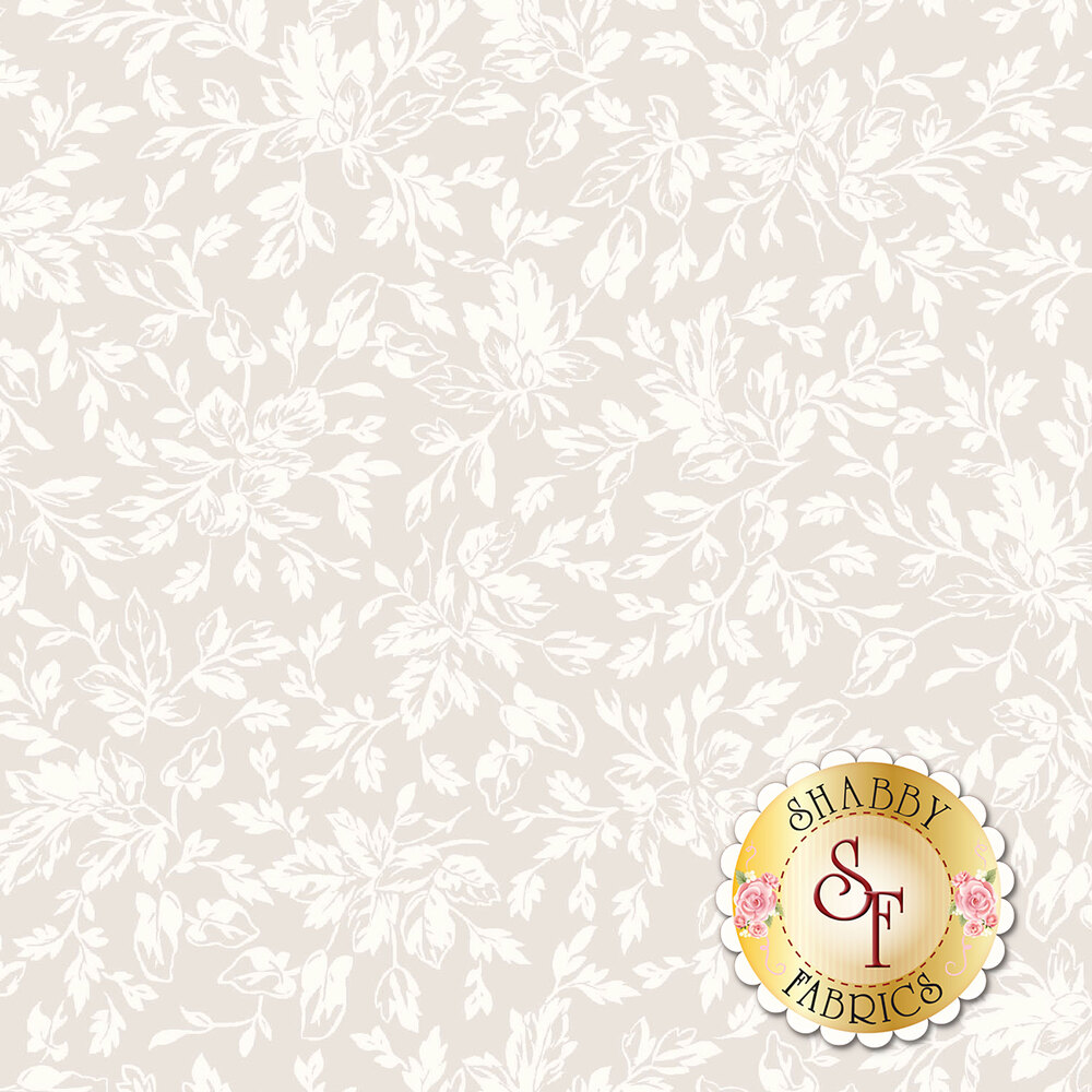 Pearlescent packed leaves on a cream background | Shabby Fabrics